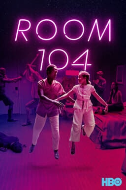 Room 104: Season 4 - Two cast members dancing in the room with other cast dancing behind in purple