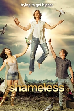 """Cast of Shamless: William H Macy holding a beer bottle and """"ascending"""" into the sky while rest of cast kneels below him. Tag above reads """"Trying to get higher."""""""