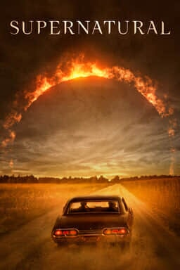 Supernatural: The Complete Series - Car driving towards an arch with flames and wheat field road