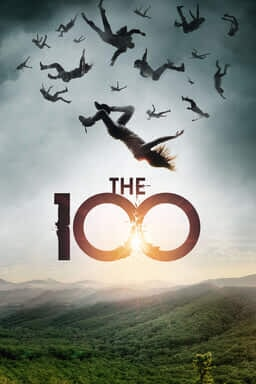 The 100: The Complete Series - Girl flying from the sky with other people to a hilled and grassy land.