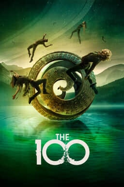 The 100: Season 7 - Humans falling around a ringed metal on glassy green reflective sea floor around mountains.