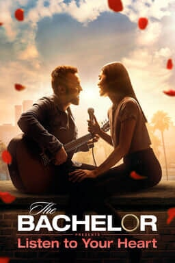 The Bachelor Presents: Listen To Your Heart: Season 1 - Man and woman singing to each other with clouds forming heart and rose petals flying