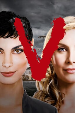 "V: The Complete Series - Jane Badler and June Chadwick with a grey sky background and red letter ""V"""