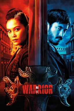 Warrior: Season 2 - Andrew Koji as Ah Sahm and Olivia Cheng as Ah Toy in red and blue with a sword