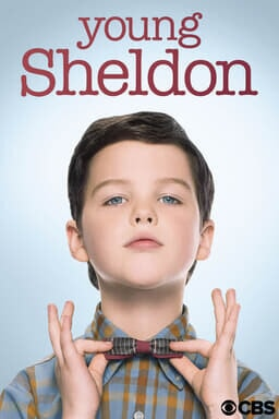 "Iain Armitage as young Sheldon Cooper adjusting his bow tie with ""young sheldon"" logo above"