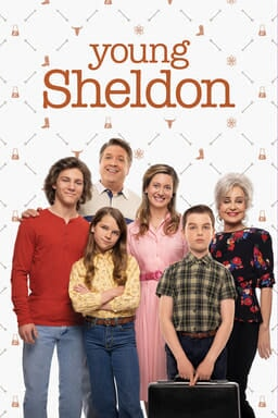 Young Sheldon: Season 4 - Cast family standing around on white patterned background