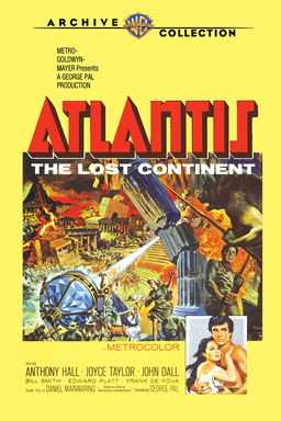 Atlantis, The Lost Continent - Yellow background with red logo and middle picture of Atlantis drawin