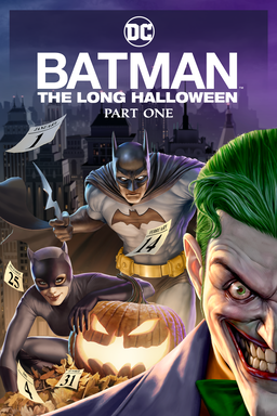 Batman: The Long Halloween Part 1 - Joker, Catwoman and Batman in the picture with pumpkin at nighttime