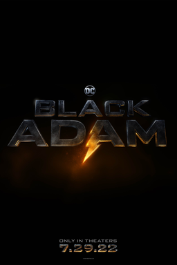 Black Adam - Logo with lightning flash in block gold letters and date below on black bg