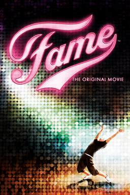 Fame - Dancer in black shirt and 3/4 shorts leaning back with disco ball bg and Fame in neon pink