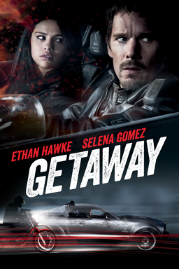 Getaway (2013) - Selena Gomez and Ethan Hawke in a black car looking at the right