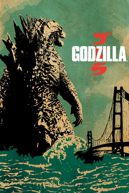Godzilla (2014) - Godzilla with his back turned walking on water towards bridge - green