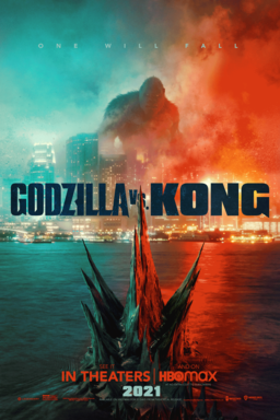 Godzilla vs. Kong - One will fall - Face off between Godzilla and Kong in turquoise and orange cloud
