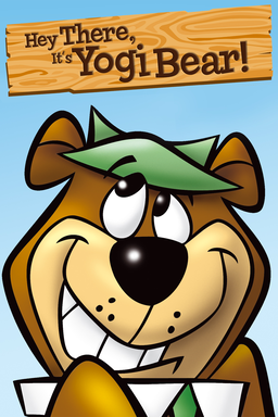 Hey There, It's Yogi Bear! - Yogi Bear grinning with green hat looking upwards to wooden sign
