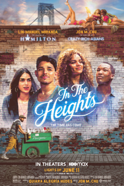In The Heights - Main cast plastered unto a brick wall with a man pushing a trolley cart on street