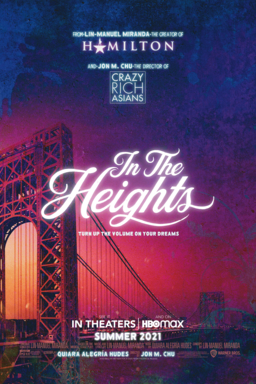 In The Heights - bridge background with purple and pink sunset and logo in white text on the top