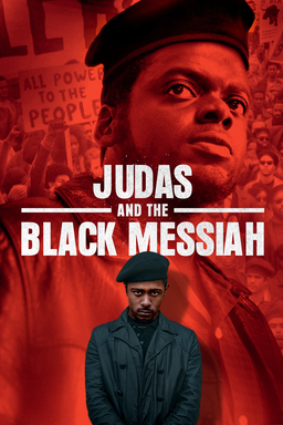 Judas and the Black Messiah - Daniel Kaluuya and LaKeith Stanfield on red background with crowd at the back