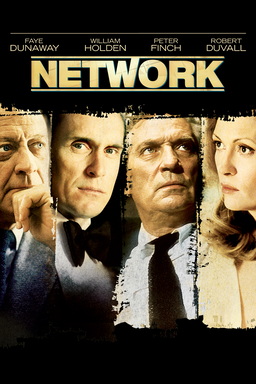 Network - Faye Dunaway, William Holden, Peter Finch, Robert Duvall in a veritcall collage black bg