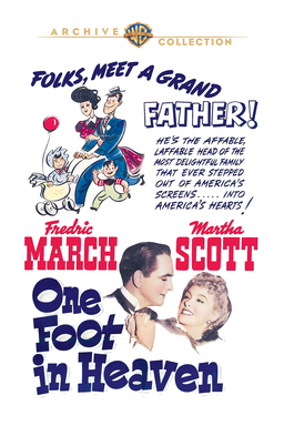 One Foot In Heaven (1941) - Fredric March, Marth Scott with a drawing and text on white bg