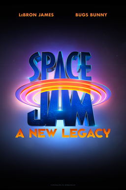 Space Jam: A New Legacy - Blue background with blue and purple logo with ring around