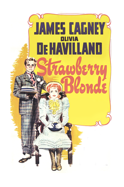 The Strawberry Blonde - James Cagney and Olivia DeHavilland art with white background