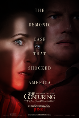 The Conjuring: The Devil Made Me Do It - Vera Farmiga and Patrick Wilson hidden in the shadows red
