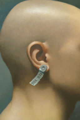 THX 1138 - Bald back of the head of a character with a pierced ear and a piece of the paper on it