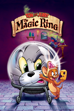Tom and Jerry: The Magic Ring - Tom in a glass ball glaring at Jerry looking at cheese happily