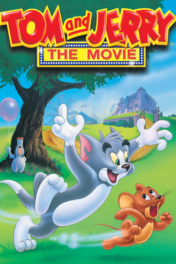 Tom and Jerry: The Movie - Tom chasing Jerry in the park with a house behind and a tree