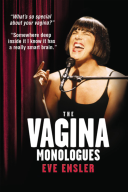 The Vagina Monologues - Eve Ensler squinting over the mic with a red curtain backdrop