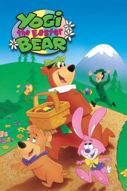 Yogi the Easter Bear - Yogi running with a wooden basket full of eggs from forest reserve on trail