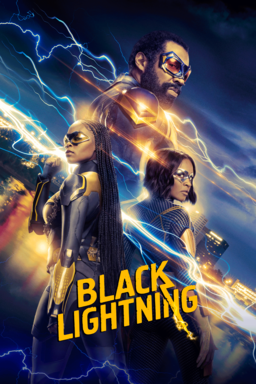 Black Lightning: Season 4 - Cast standing in blue and yellow lightning flashes with goggles