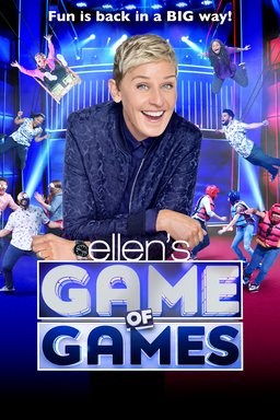 Ellen's Game of Games: Season 4 - Ellen DeGeneres wearing blue zipper leaning with contestants
