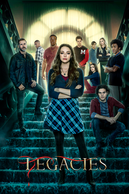 Legacies: Season 3 - Cast standing around on the staircase at the top sun beaming through glass
