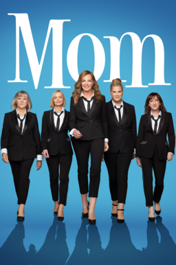 Mom: Season 8 - Cast in black suits nd black heels walking towards camera on blue background