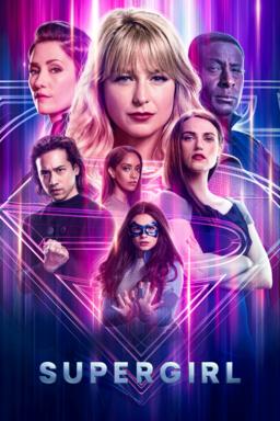 Supergirl: Season 6 - Melissa Benoist as Kara Danvers along with cast on purple pink neon light