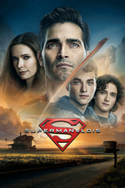Superman & Lois: Season 1 - Superman with Lois and two boys layered with house and farm below