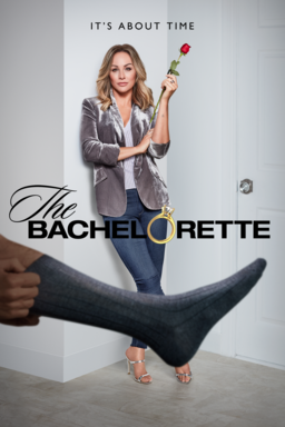 The Bachelorette: Season 16 - Clare Crawley in silver blazer holding rose and man sock feet in front