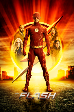 The Flash: Season 7 - The Flash standing with fists clenched in red suit with cast behind logo
