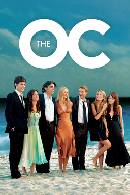 The O.C. - Cast wearing gowns and tux standing in the ocean water, laughing
