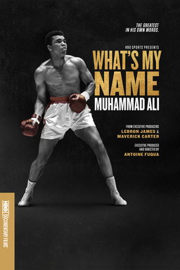 What's My Name: Muhammad Ali - Black background with Muhammad Ali in red boxing gloves and shorts