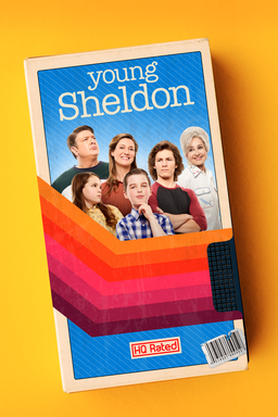 Young Sheldon: Season 4 - cast gathered around on blue background on a brochure looking card