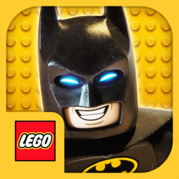 LEGO Batman's face with LEGO logo at lower left