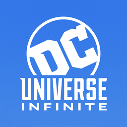 DC Universe Infinite - White logo stacked with blue background