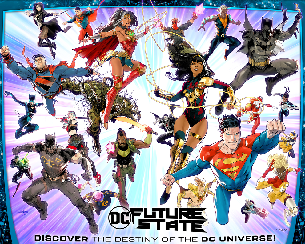 DC Future State: Discover the Destiny of the DC Universe! - Superheroes and Supervillans coming out of the picture