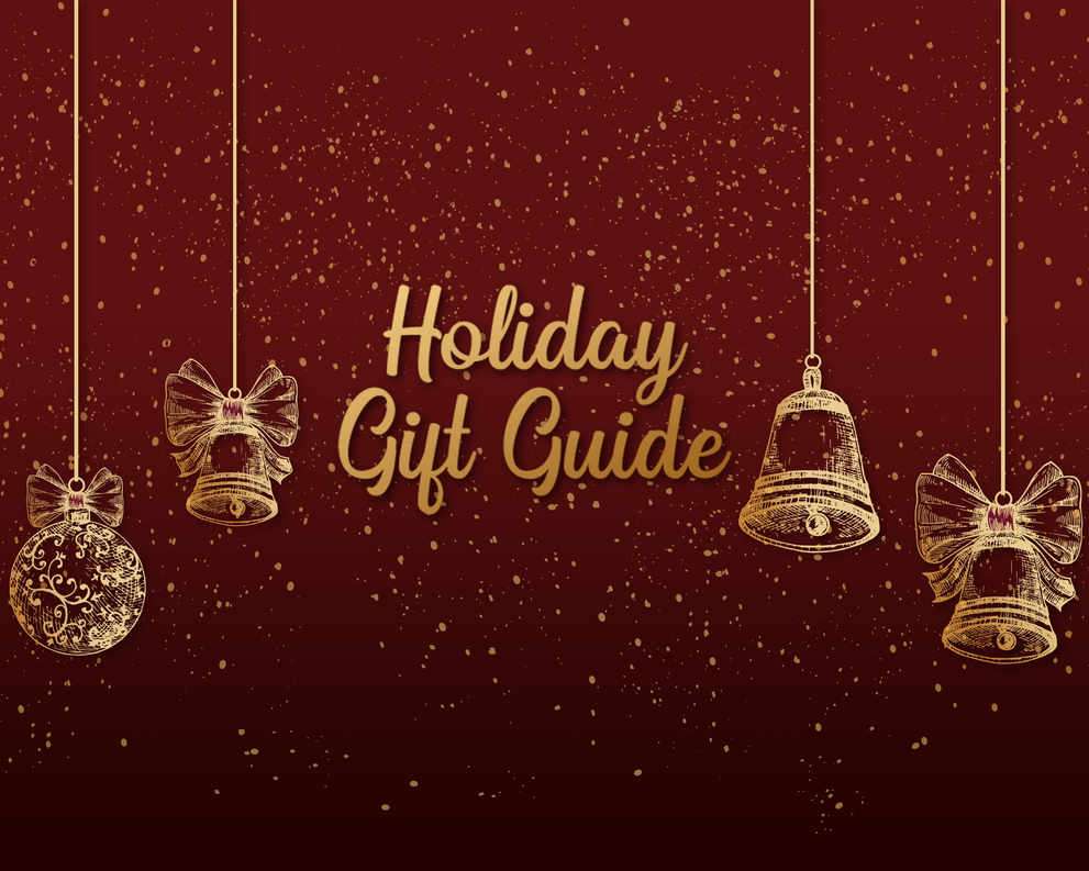 Holiday Gift Guide - Red background with glitter falling and golden ornaments hanging