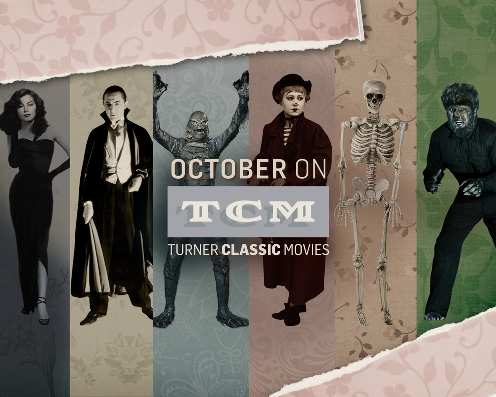 October on TCM - Turner Classic Movies - Layers of striped paper texture with varying colors and characters on them