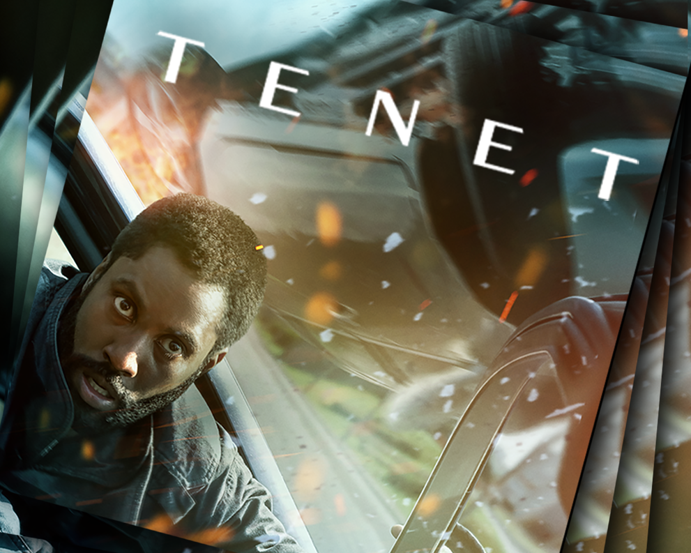 Tenet - Tilted with layered images of John David Washington in a car